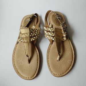 B.o.c. strap braided thong sandals metallic gold